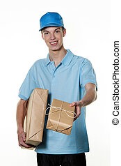 Young man of package delivery service brings