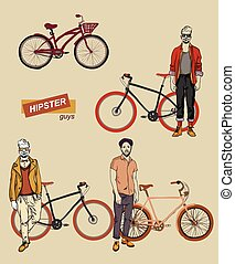young man on a bike set
