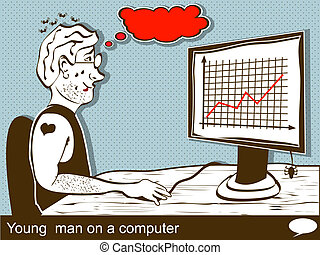 young man on a computer