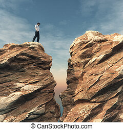 Young man on a rock