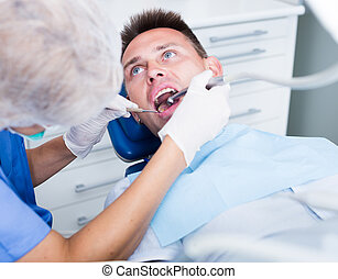 Young man on dental checkup
