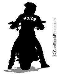 Young man on moto - Silhouettes of big motorcycl and people