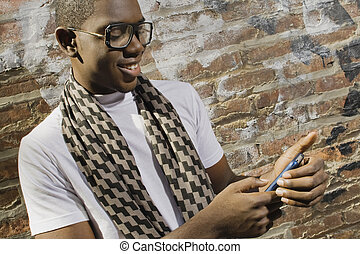 Young man on phone