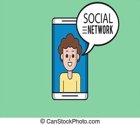Young man on social networks HD animation