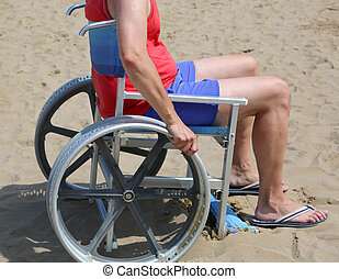 Young man on the wheelchair