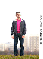 young man outdoor in city