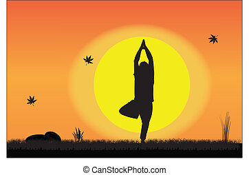 Young Man performing Yoga in peace