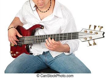 Young man play on guitar