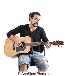 Close up of a young man a playing spanish guitar isolated on a white background