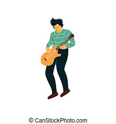 Young Man Playing Acoustic Guitar Vector Illustration