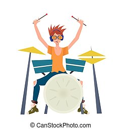 Young man playing drum set. Drummer, musician. Vector illustration, isolated on white background.