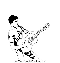 Young man playing the guitar . Man with acoustic guitar line art style. Vector illustration guitarist isolated on white background