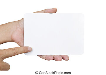 close up of a young man pointing his finger at a blank sign board which is holding with his other hand, against a white background