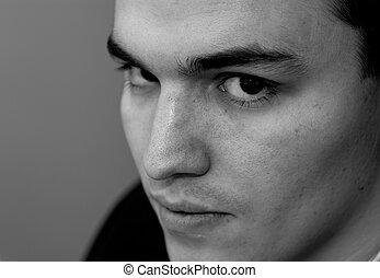Young Man Portrait, Black and White
