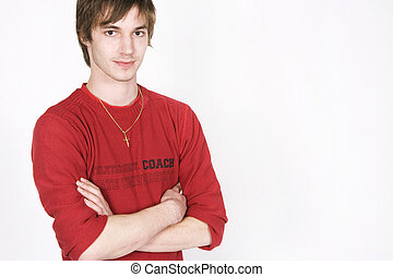 Young man portrait - confident young man portrait on white ...