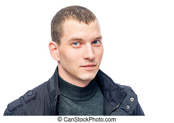young man portrait on a white background closeup