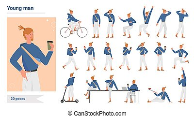 Young man poses infographic set, cartoon hipster standing, walking with smartphone, riding bike