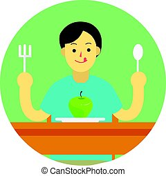 Young man prepare to eat apple with spoon and fork on table.flat man cartoon design in green circle vector illustration