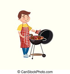 Young man preparing steak on the barbecue grill cartoon vector Illustration