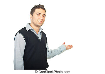 Young man presentation