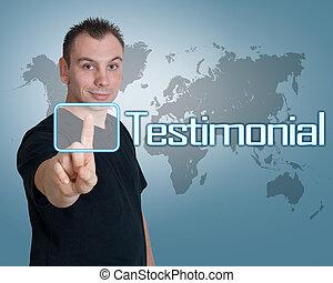 Testimonial - Young man press digital Testimonial button on ...