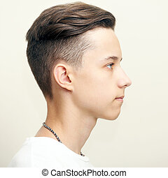 Young man profile face
