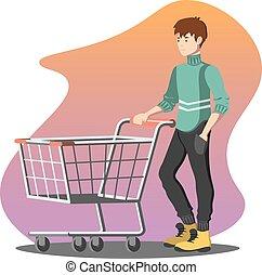 Young man pushing a shopping empty cart