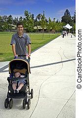 man pushing baby - young man pushing baby in pram in a park...