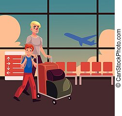 Young man pushing luggage trolley with his daughter holding camera