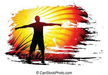 Young man raising his hands, Vector illustration.
