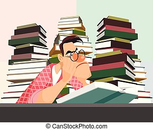 Young man reading a book - Vector illustration of a young...