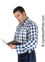 Young man reading.