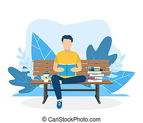 Young man reading book on the bench. Education, reading, studying. Vector illustration in flat style. Vector illustration in flat style