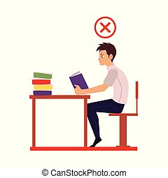 Young man reading in incorrect sitting position