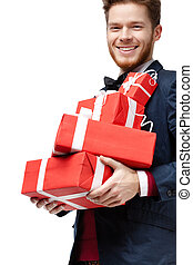 Young man received a lot of presents