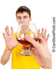Young Man refuse an Alcohol