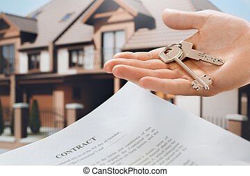 Young man rent apartment real estate agency