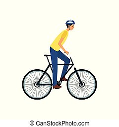Young man riding a bike - happy flat cartoon character with helmet on bicycle ride.