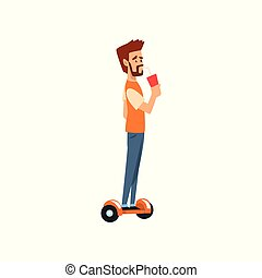 Young man riding a gyroscope with cup of soda drink in his hand vector Illustration on a white background