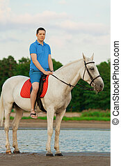 Young man riding a horse at sunset on the beach. Man with a hors