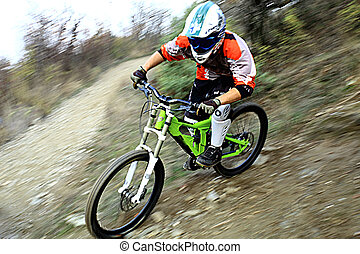 Young man riding a mountain bike