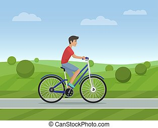 Young man riding a sport bike on a park road. Vector illustration. Male bicycle