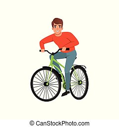 Young man riding bicycle, active lifestyle concept vector Illustrations on a white background