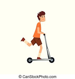 Young man riding kick scooter, sport and physical activity concept vector Illustration on a white background