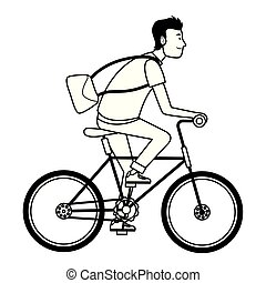 Young man riding on bicycle cartoon in black and white