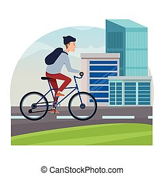 Young man riding on bicycle cartoon