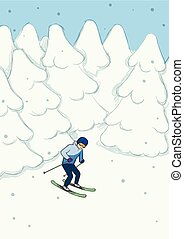 Young man riding on mountain skiing among the snow-covered forest. Winter extreme sport. Vector illustration.