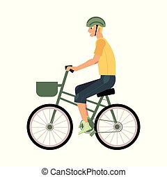 d025f8894621 Young man riding urban bike with basket isolated on white background.