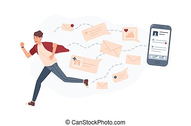 Young man running away from giant smartphone and text messages or e-mails pursuing him. Concept of person overwhelmed by internet notifications. Colorful vector illustration in flat cartoon style.