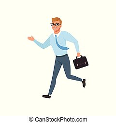 Young man running in a hurry, people activity, daily routine vector Illustration on a white background